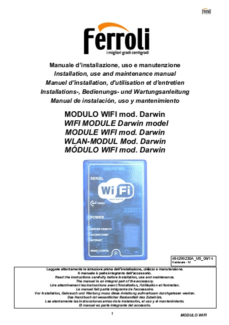 Manual de modulo WIFI Caldera Ferroli BlueHelix WiFi