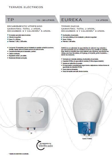 Folleto Termo Electrico Fleck TP y Eureka
