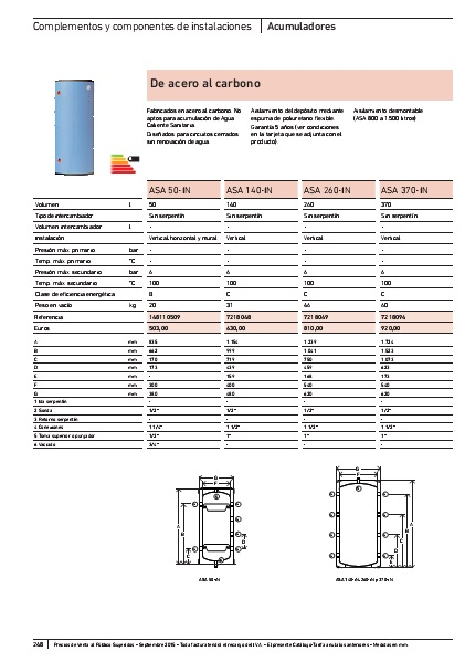 Depósito de inercia Baxi ASA - Catalogo