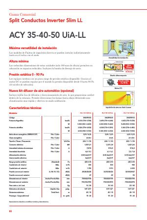 Aire Acondicionado Conductos Fujitsu ACY UiA-LL - Ficha de producto