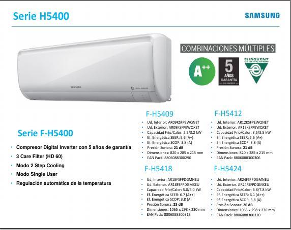 Aire Acondicionado Split Samsung H5400 - Ficha de producto