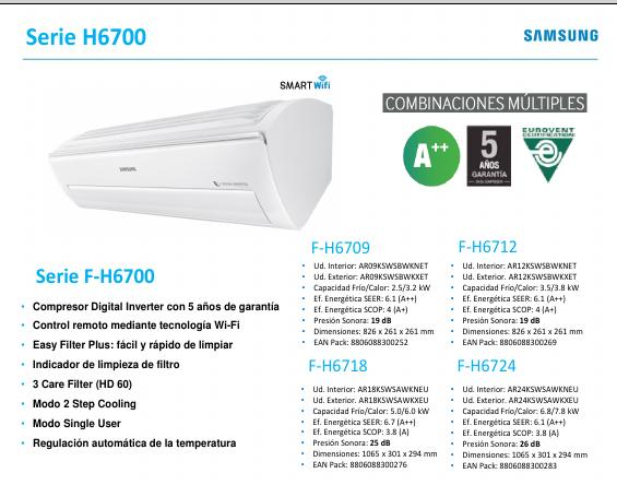Aire Acondicionado Split Samsung H6700 - Ficha de producto