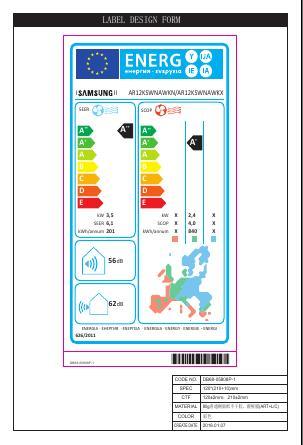 Aire Acondicionado Split Samsung H6712 - Etiqueta