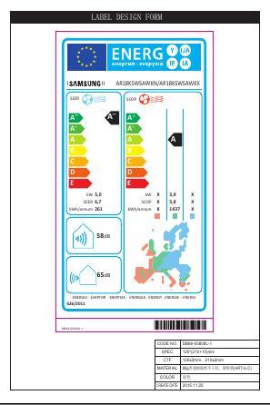 Aire Acondicionado Split Samsung H6718 - Etiqueta