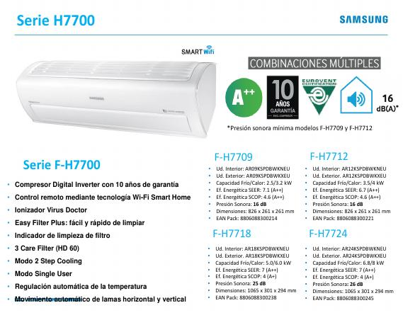 Aire Acondicionado Split Samsung H7700 - Ficha de producto