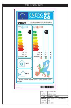Aire Acondicionado Split Samsung H7709 - Etiqueta