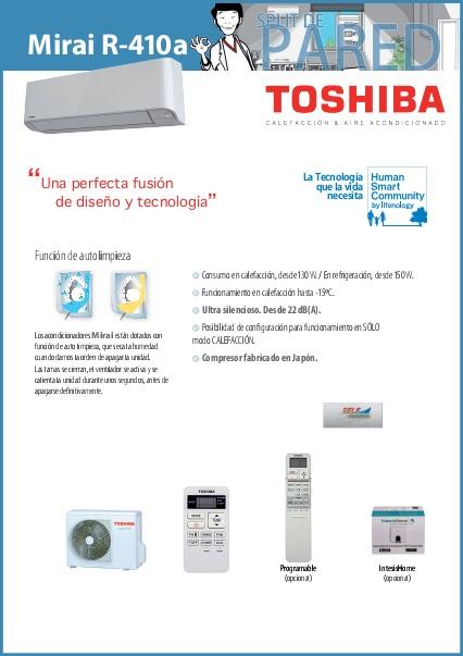 Aire Acondicionado Split Toshiba Mirai - Ficha de producto