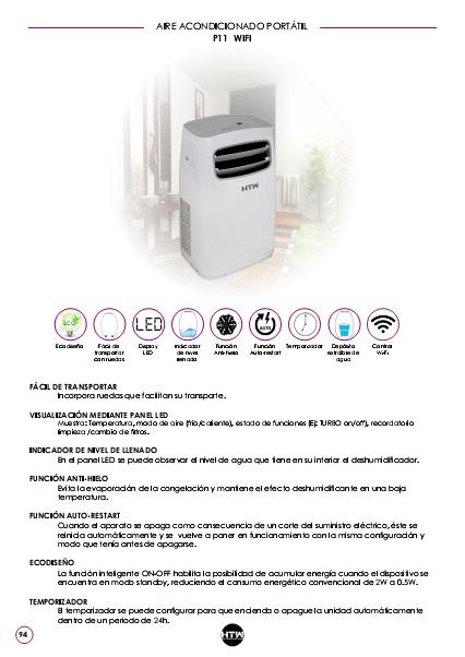 Ficha de producto Aire Acondicionado portátil HTW P11 WIFI