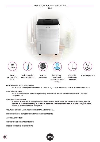 Ficha de producto Deshumidificador HTW P05