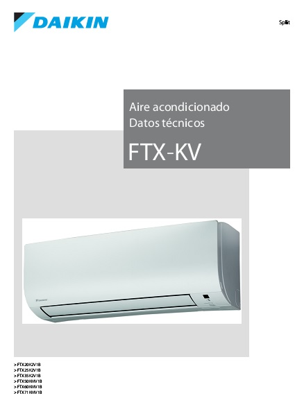 Ficha de producto Split 1x1 Daikin Serie KV