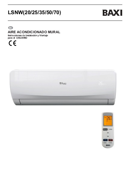 Manual de usuario Split Baxi Serie ANORI
