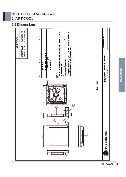 Split de pared LG Unidad Interior ART COOL GALLERY - Dimensiones