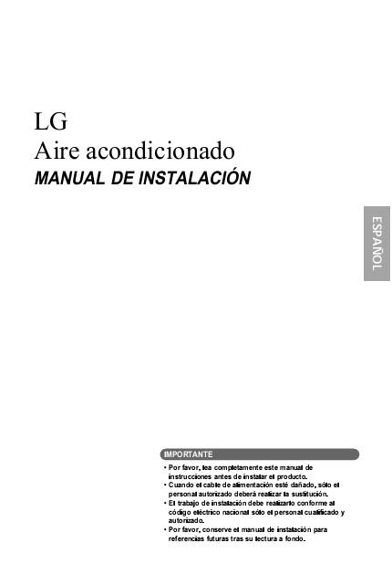 Split de pared LG Unidad Interior ART COOL GALLERY - Manual de instalacion