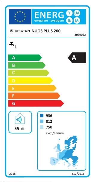 Bomba de calor para ACS Ariston NUOS PLUS - Etiqueta