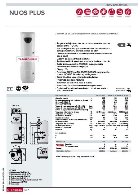 Bomba de calor para ACS Ariston NUOS PLUS - Folleto