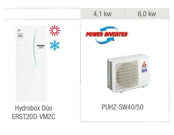 Combinacion ECODAN SPLIT - Hidrobox Duo Reversible ERST20D-VM2C con PUHZ-SW40 50