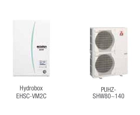 Combinacion ECODAN SPLIT - PUHZ-SHW  con Hidrobox Calefacción