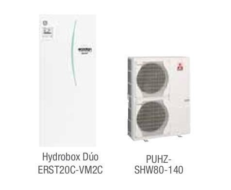 Combinacion ECODAN SPLIT - PUHZ-SHW  con Hidrobox Duo Reversible