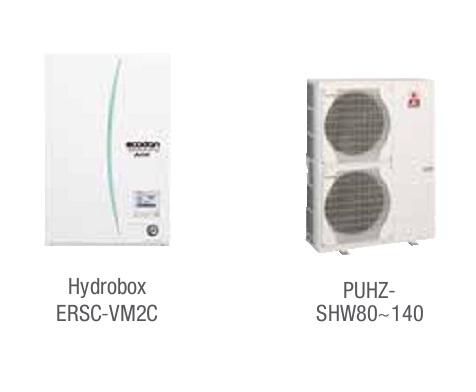 Combinacion ECODAN SPLIT - PUHZ-SHW  con Hidrobox Reversible