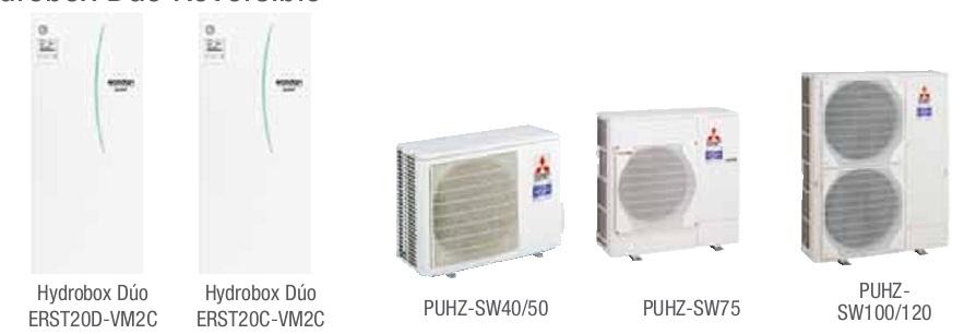 Combinacion ECODAN SPLIT - PUHZ-SW  con Hidrobox Duo Reversible