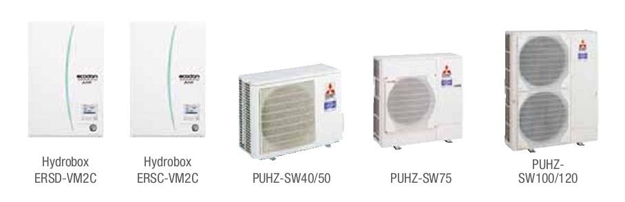 Combinacion ECODAN SPLIT - PUHZ-SW  con Hidrobox Reversible