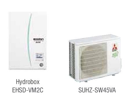 Combinacion ECODAN SPLIT - SUHZ-SW45VA con Hidrobox Calefacción EHSD-VM2C