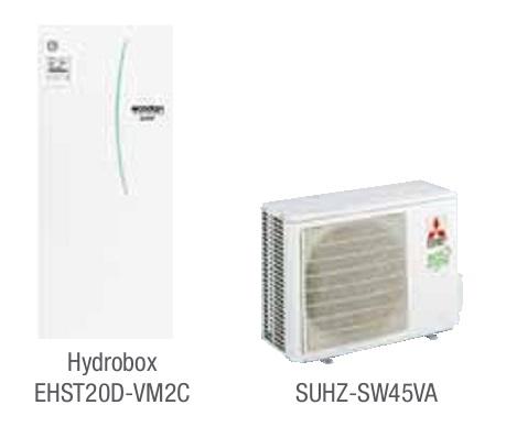 Combinacion ECODAN SPLIT - SUHZ-SW45VA con Hidrobox Duo Calefacción EHST20D-VM2C