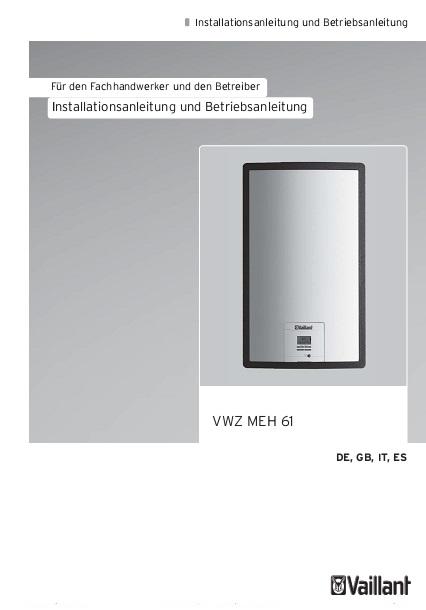 Equipo autónomo Vaillant VWZ MEH 61 - Instrucciones de instalación