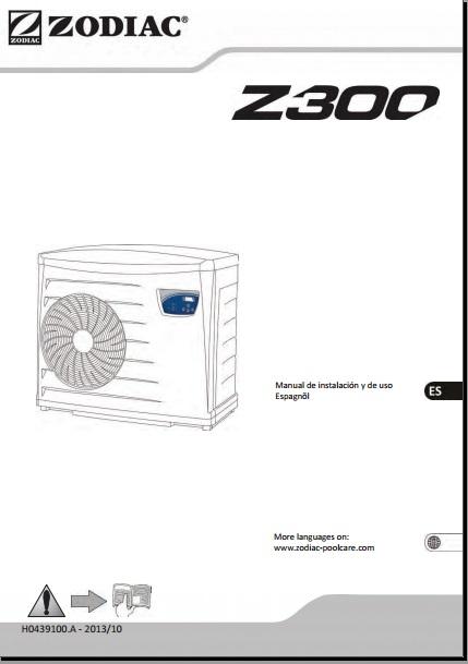 Manual Bomba de calor para Piscinas Zodiac Z300