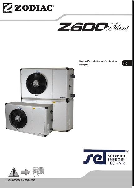 Manual Bomba de calor para Piscinas Zodiac Z600 Silent