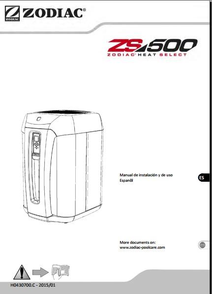 Manual Bomba de calor para Piscinas Zodiac ZS500