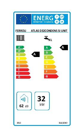 Caldera Ferroli ATLAS D 32 CONDENS SI UNIT - Etiqueta energetica