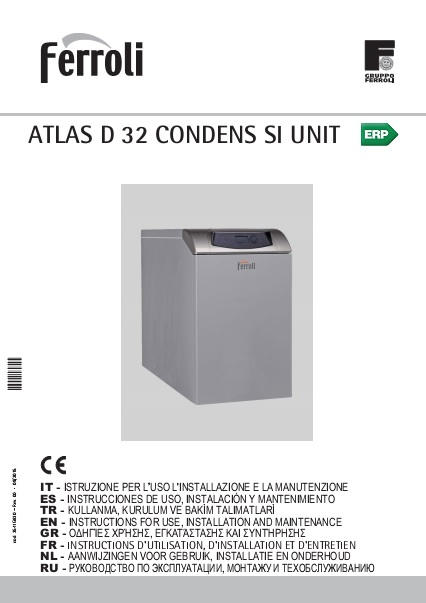 Caldera Ferroli ATLAS D 32 CONDENS SI UNIT - Manual de uso
