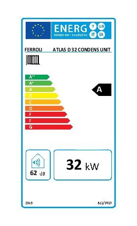 Caldera Ferroli ATLAS D 32 CONDENS UNIT - Etiqueta energetica