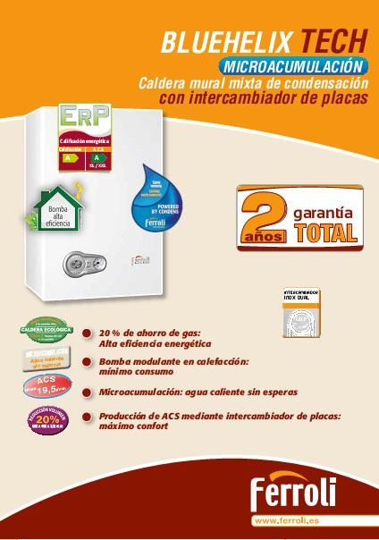 Caldera Ferroli BLUEHELIX TECH - Ficha comercial