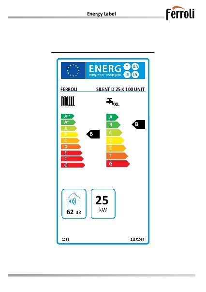 Caldera Ferroli SILENT D 25 K 100 UNIT - Etiqueta energetica