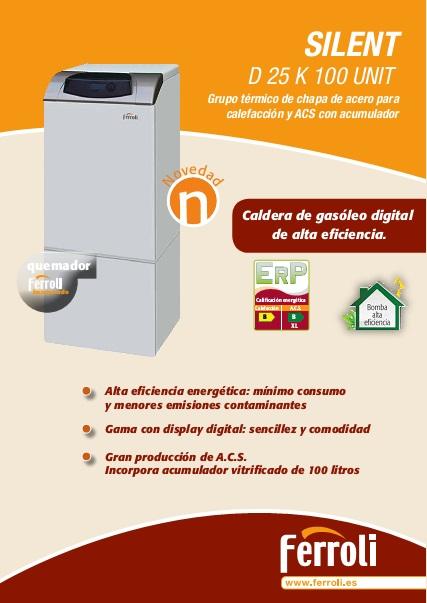 Caldera Ferroli SILENT D 25 K 100 UNIT - Ficha comercial