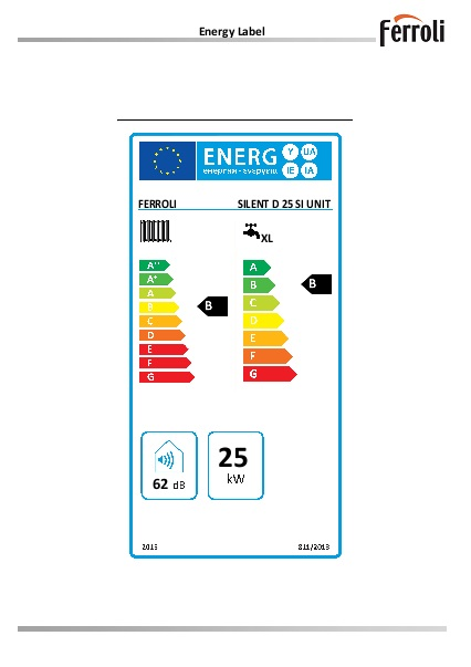 Caldera Ferroli SILENT D 25 SI UNIT - Etiqueta-Energetica
