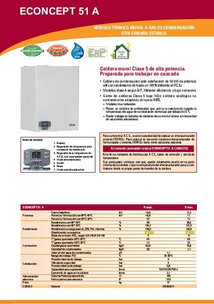 Caldera a gas de condensación Ferroli ECONCEPT 51 A - Ficha comercial