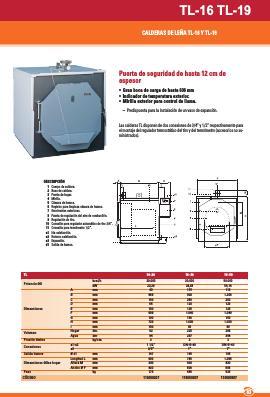Caldera de leña Ferroli TL - Ficha comercial