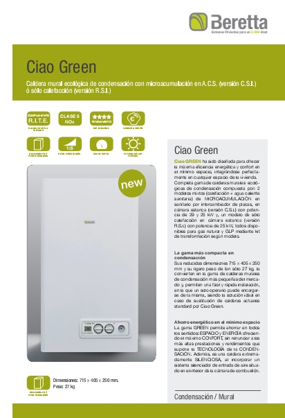 Catalogo comercial Caldera Beretta Ciao Green