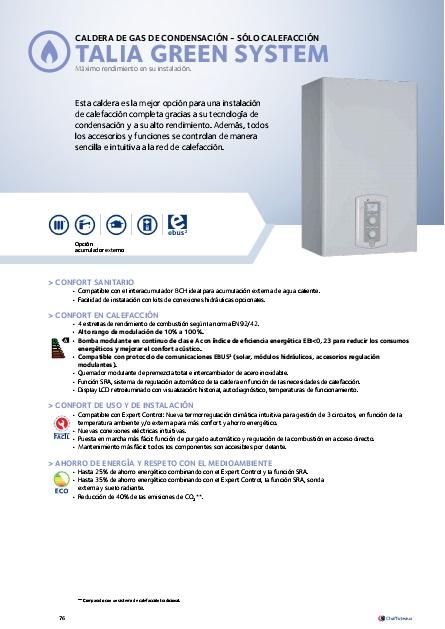 Catalogo comercial Caldera Chaffoteaux TALIA GREEN SYSTEM 35 FF