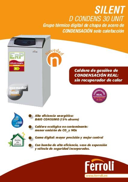 Ficha comercial - Caldera Ferroli SILENT D CONDENS 30 UNIT