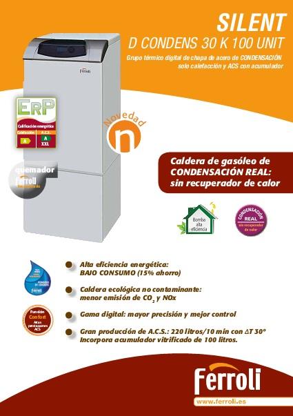 Ficha de producto - Caldera Ferroli SILENT D CONDENS 30 K 100 UNIT