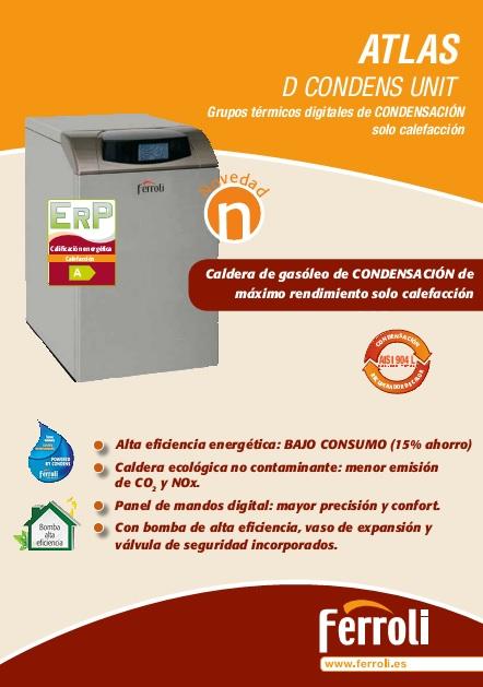 Ficha de producto caldera de condensación a gasóleo Ferroli D CONDENS UNIT