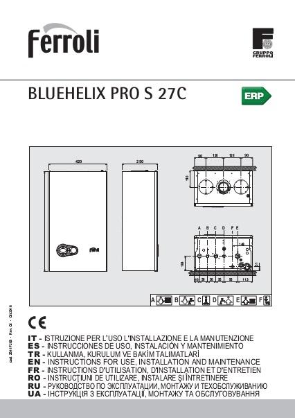 Manual de instalación Caldera Ferroli BLUEHELIX PRO SLIM