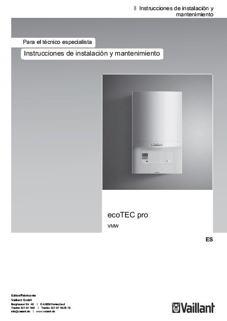 Manual de instalación Caldera Vaillant ecoTEC