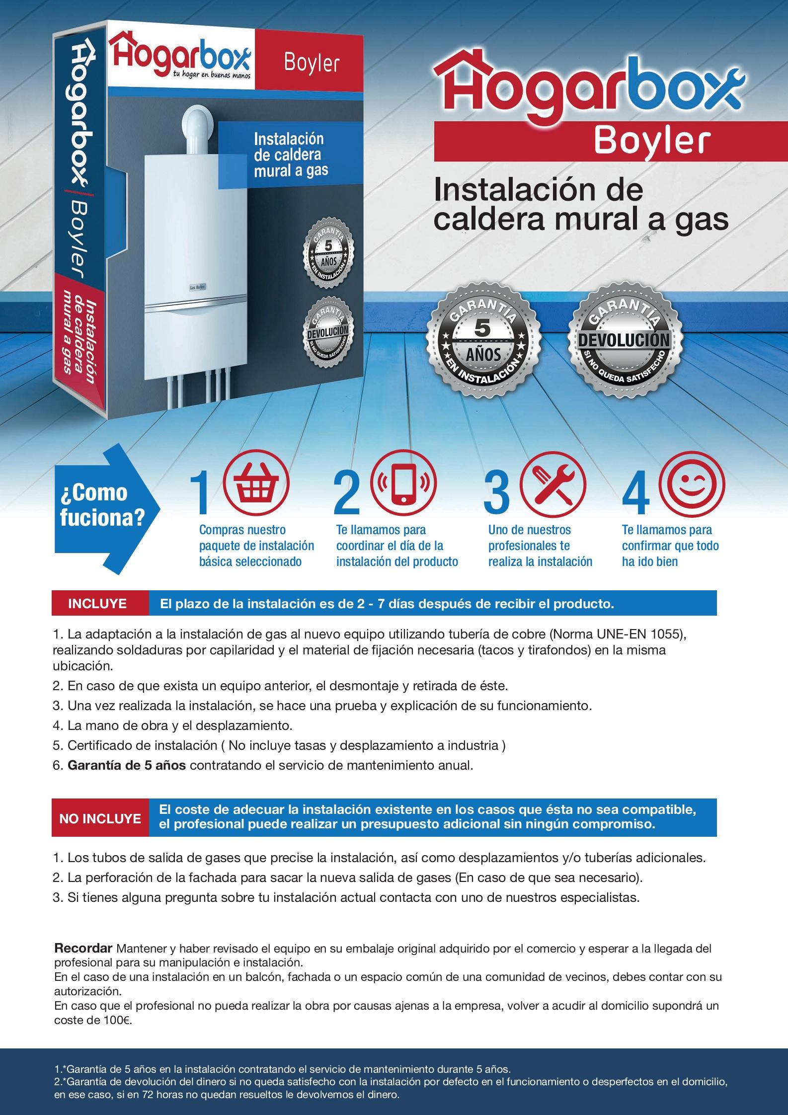 Precio instalación de caldera a gas