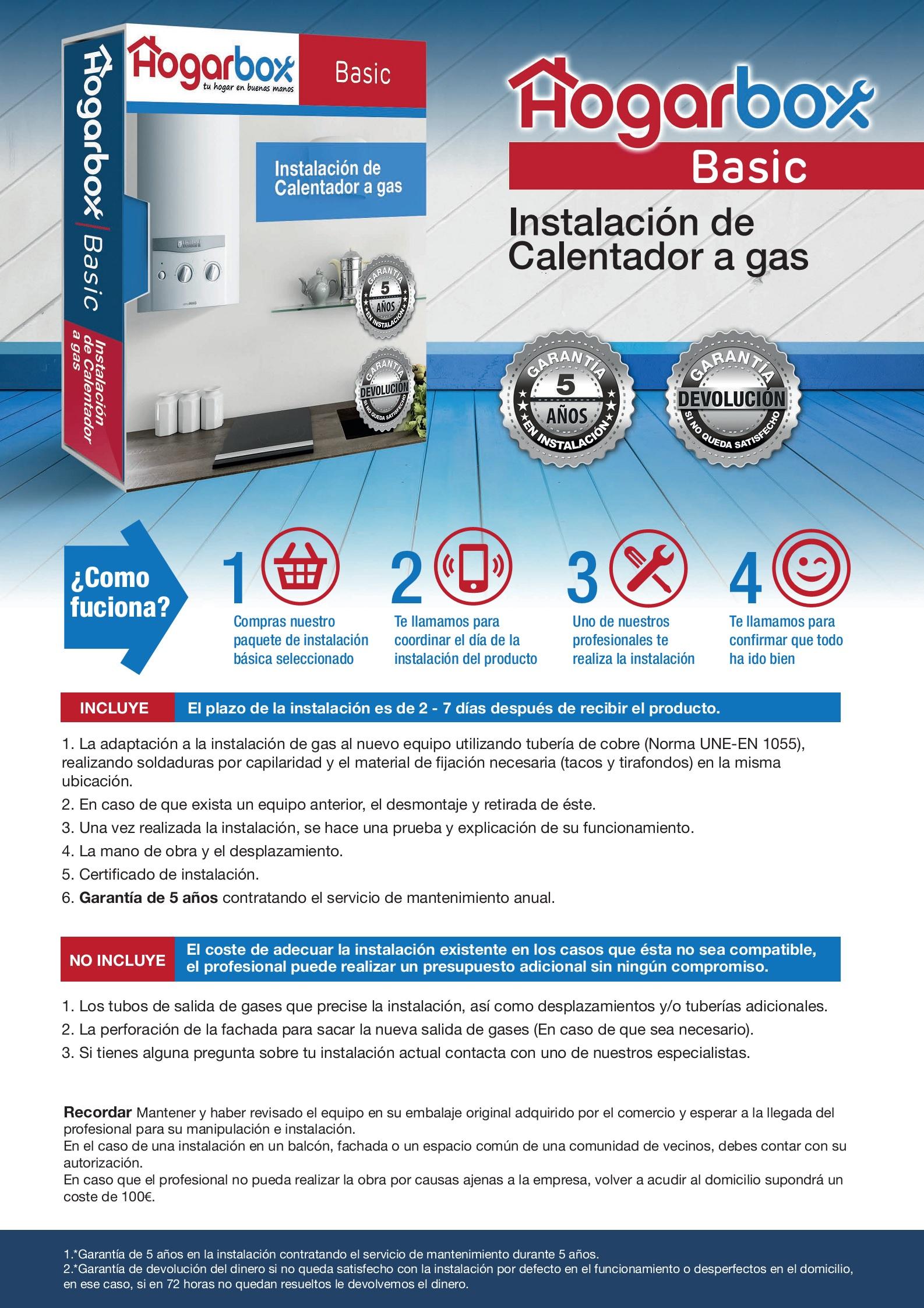 Precio instalación de calentador a gas