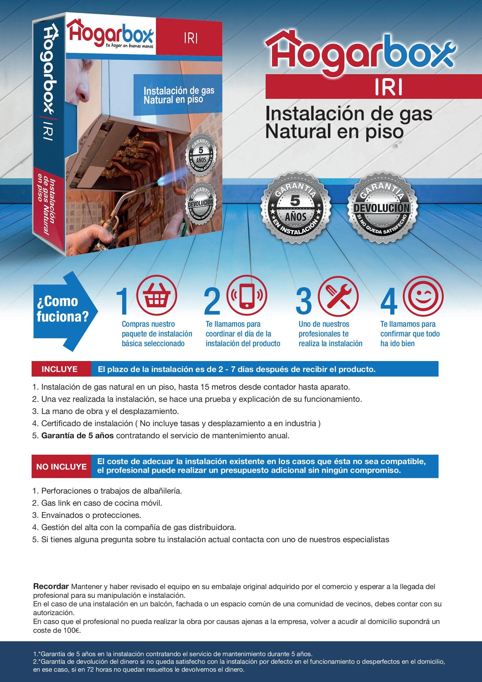 Precio instalación de gas natural en un piso